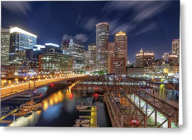 Boston's Skyline At Night Greeting Card