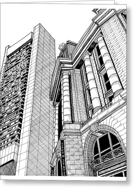 Boston's South Station Greeting Card by Conor Plunkett