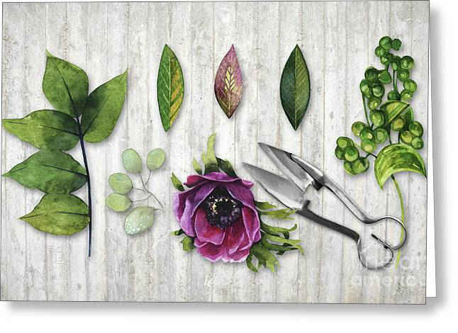 Botanica I Botanical Flower, Leaf And Berry Nature Study Greeting Card by Tina Lavoie