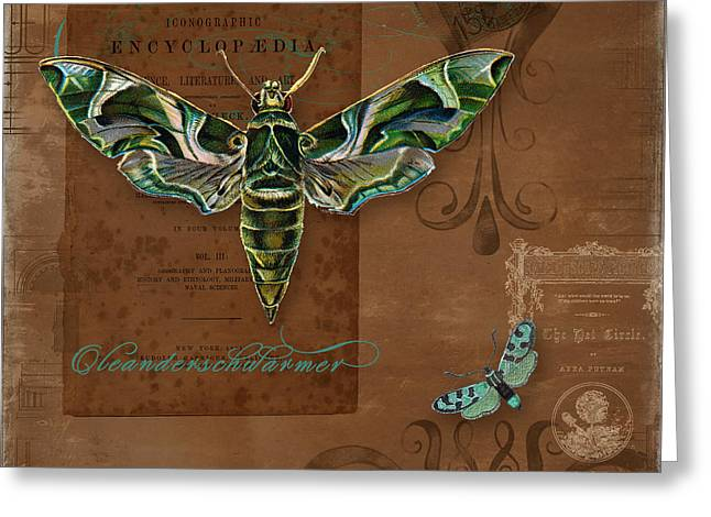 Botanica Vintage Butterflies N Moths Collage 2 Greeting Card by Audrey Jeanne Roberts