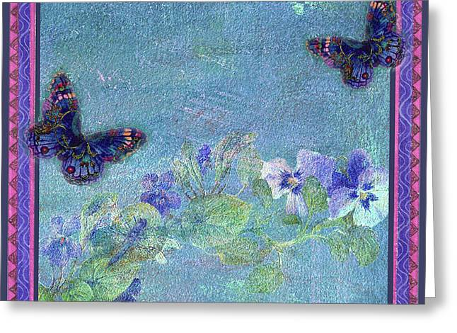 Greeting Card featuring the painting Botanical And Colorful Butterflies by Judith Cheng