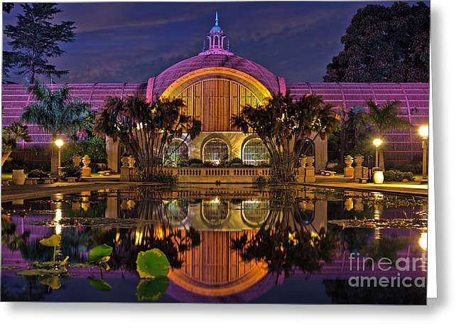 Botanical Building At Night In Balboa Park Greeting Card