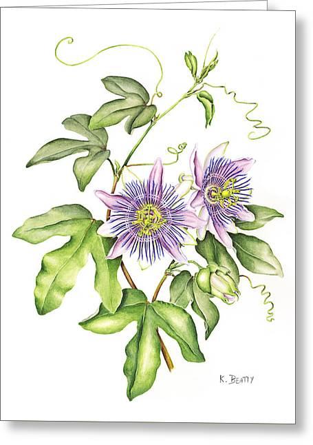 Botanical Illustration Passion Flower Greeting Card
