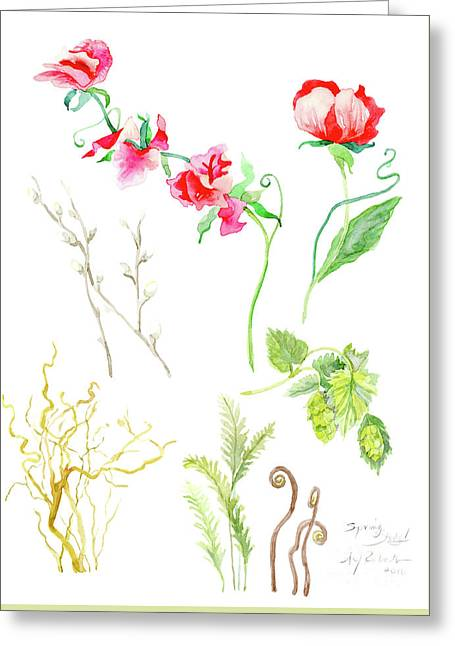 Botanical Nature - Spring Study 1 Greeting Card by Audrey Jeanne Roberts