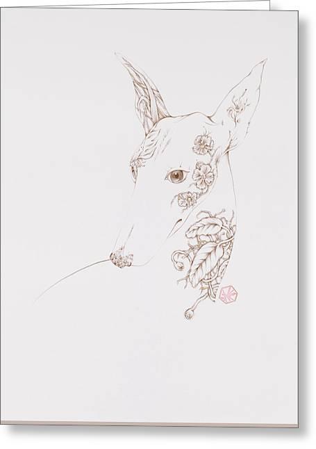 Botanicalia Greyhound Greeting Card by Karen Robey