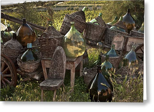 Wine Cart Greeting Cards - Botega Del Trenta in Villa a Sesta Italy Greeting Card by Jon Cretarolo