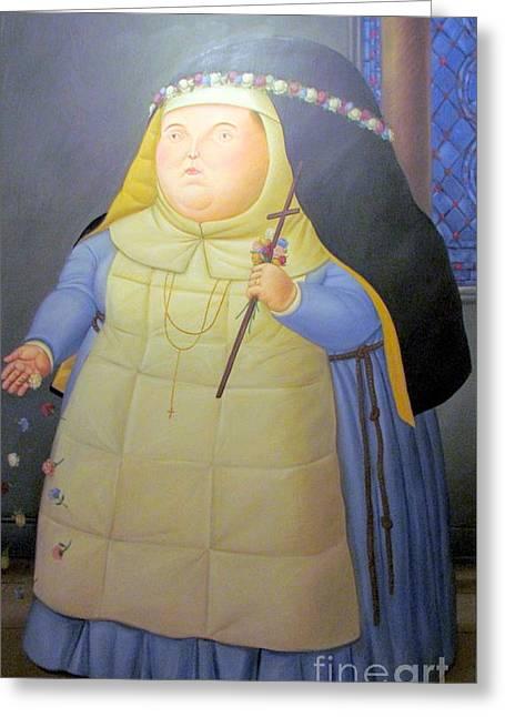 Botero Nunn In Blue Greeting Card