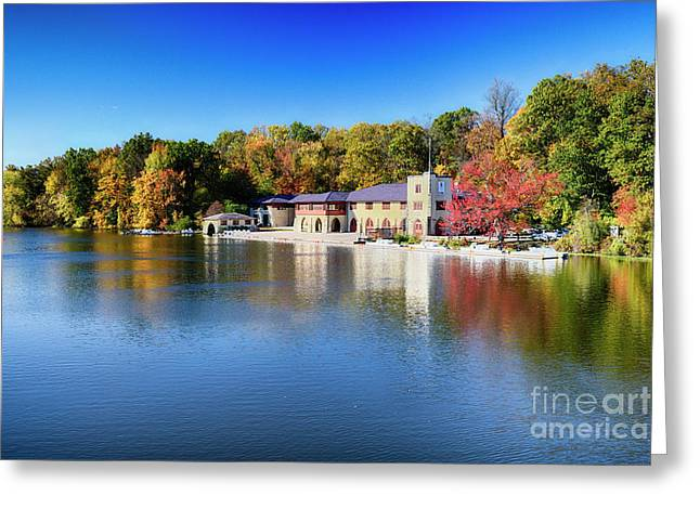 Boathouse On Lake Carnegie With Autumn Foliage Greeting Card by George Oze