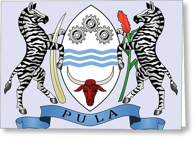 Greeting Card featuring the drawing Botswana Coat Of Arms by Movie Poster Prints