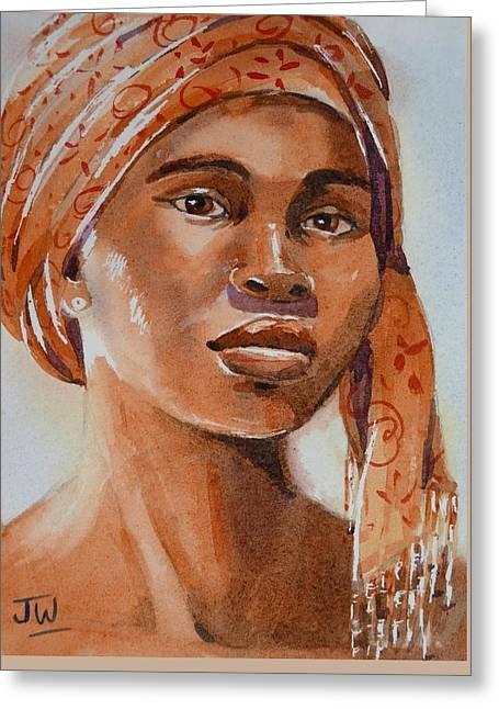 Botswana Woman Wearing Head Wrap Greeting Card