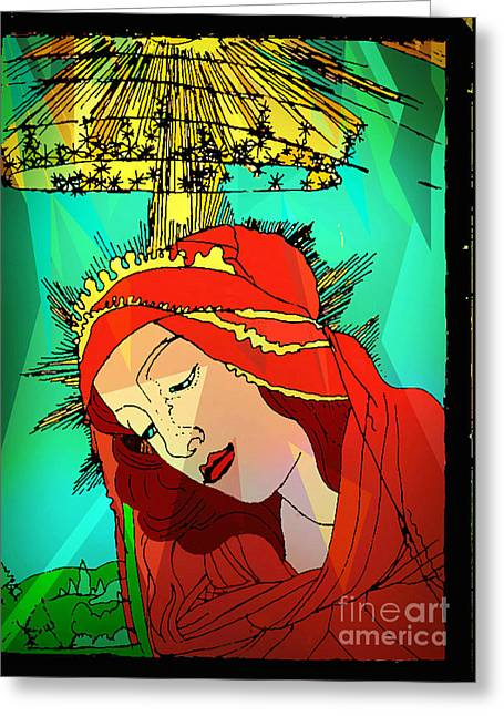 Botticelli Madonna Abstract Background Greeting Card by Genevieve Esson