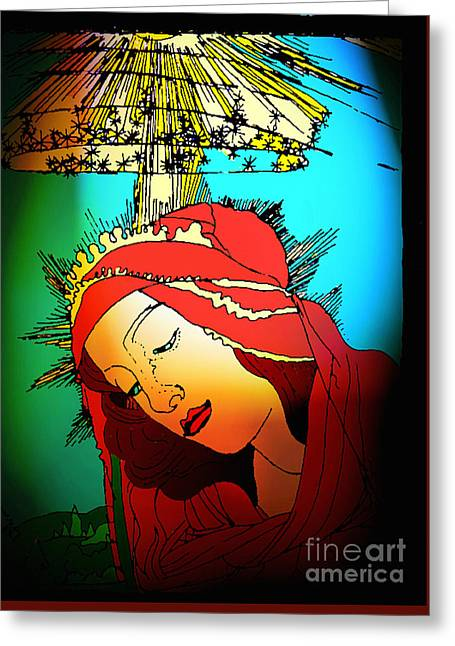 Botticelli Madonna Brights Greeting Card by Genevieve Esson