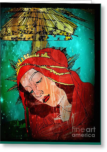 Botticelli Madonna In Space Greeting Card by Genevieve Esson