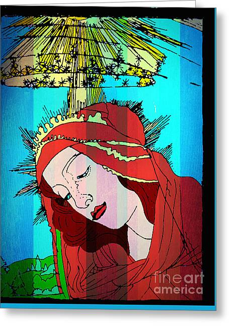 Botticelli Madonna In Vertical Stripes Greeting Card by Genevieve Esson