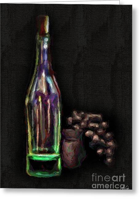 Greeting Card featuring the photograph Bottle And Grapes by Walt Foegelle