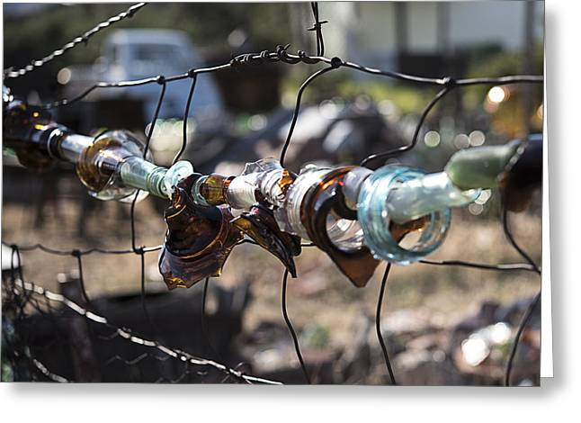 Bottle Fence Greeting Card by Annette Berglund