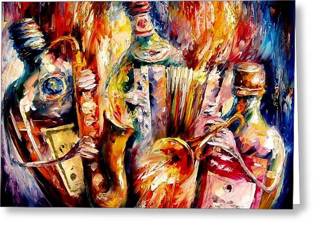 Bottle Jazz Greeting Card by Leonid Afremov