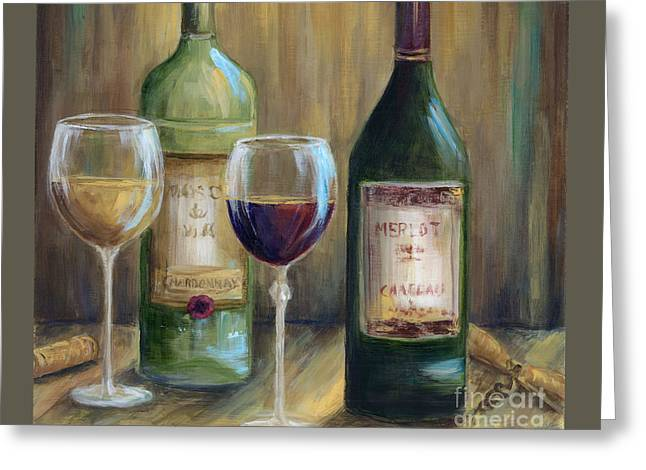Bottle Of Red Bottle Of White   Greeting Card by Marilyn Dunlap