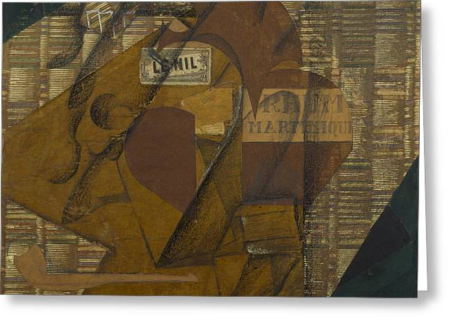 Bottle Of Rum And Newspaper Greeting Card by Juan Gris