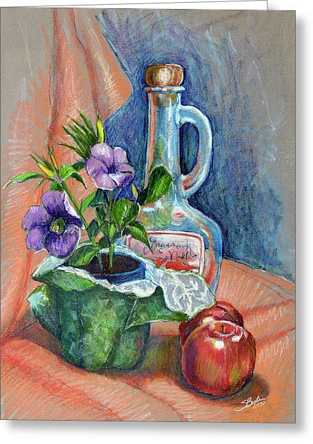 Fine Bottle Drawings Greeting Cards - Bottle with plants still life Greeting Card by Stephen Boyle