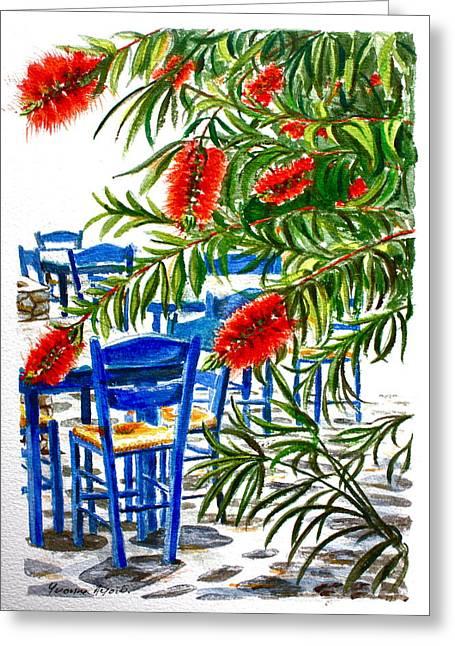 Bottlebrush And Blue Greeting Card by Yvonne Ayoub