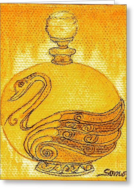 Bottled Gold Swan Greeting Card