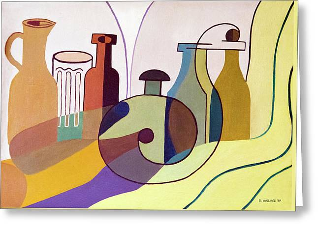 Bottles And Glass - Cubism Greeting Card