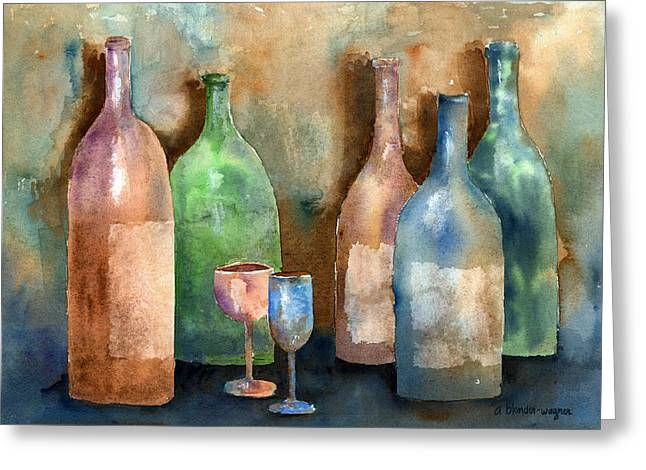 Bottles Greeting Card by Arline Wagner