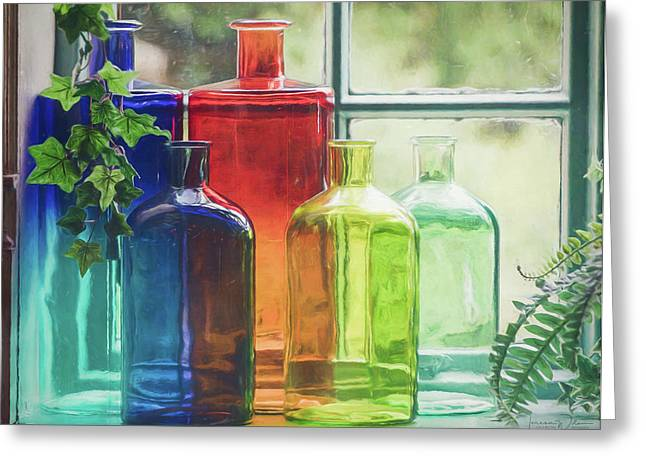 Bottles In The Window Greeting Card