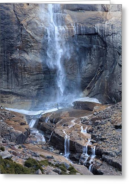 Bottom Part Of Upper Yosemite Waterfall Greeting Card