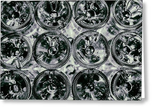 Bottoms Up - Black And White Wine Bottles Greeting Card