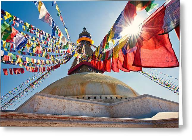 Boudhanath Stupa Kathmandu Greeting Card by Ulrich Schade
