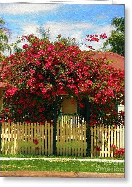 Bougainvillea Cottage By Kaye Menner Greeting Card