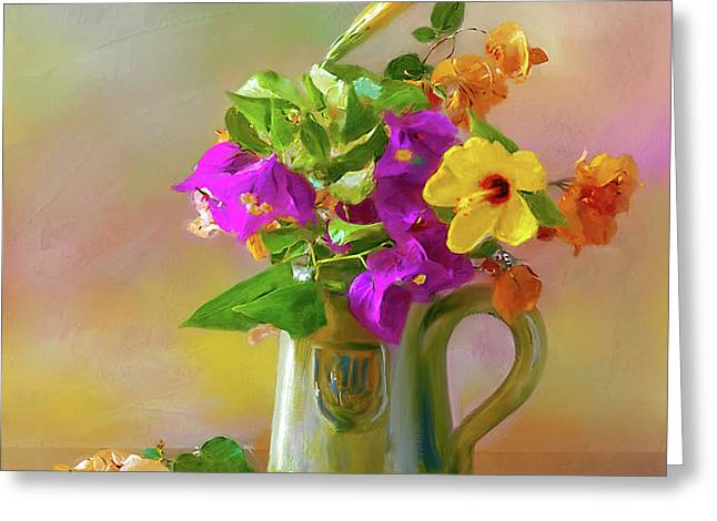 Bougainvilleas In A Green Jar. Greeting Card