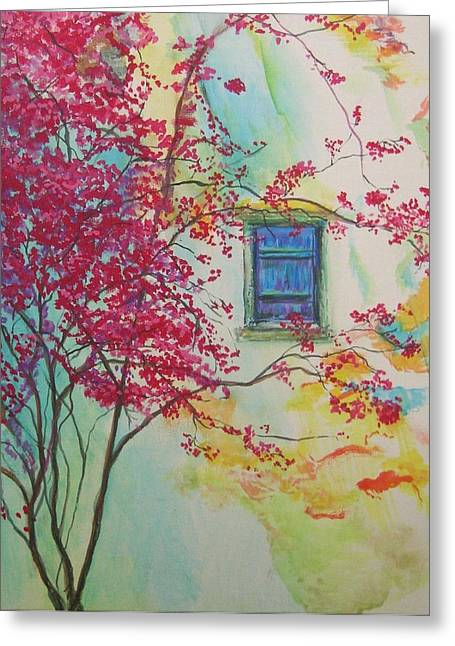 Bouganvilla And Blue Shutter Greeting Card by Lizzy Forrester