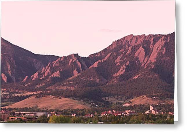Boulder Colorado Flatirons 1st Light Panorama Greeting Card