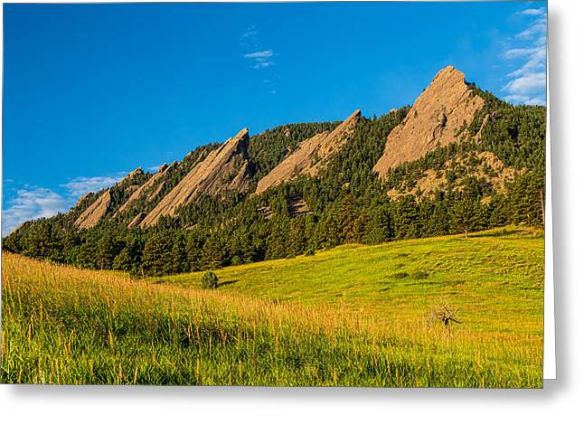 Boulder Colorado Flatirons Sunrise Golden Light Greeting Card