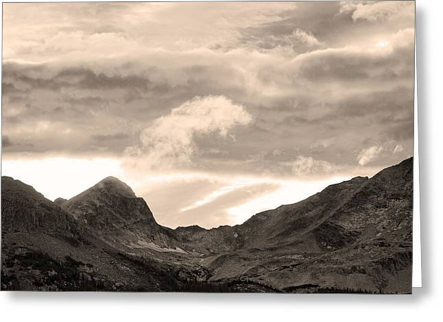 Boulder County Indian Peaks Sepia Image Greeting Card