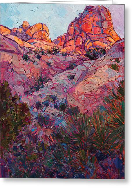 Greeting Card featuring the painting Boulder Dawn by Erin Hanson