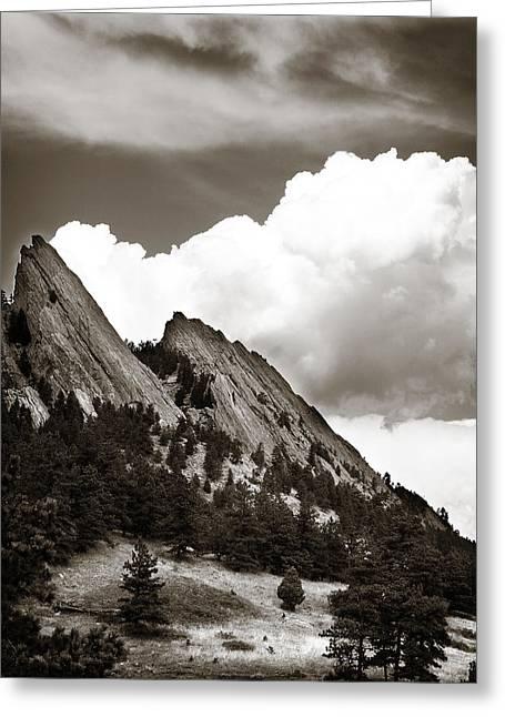 Flatiron Greeting Cards - Boulder Flatirons 1 Greeting Card by Marilyn Hunt