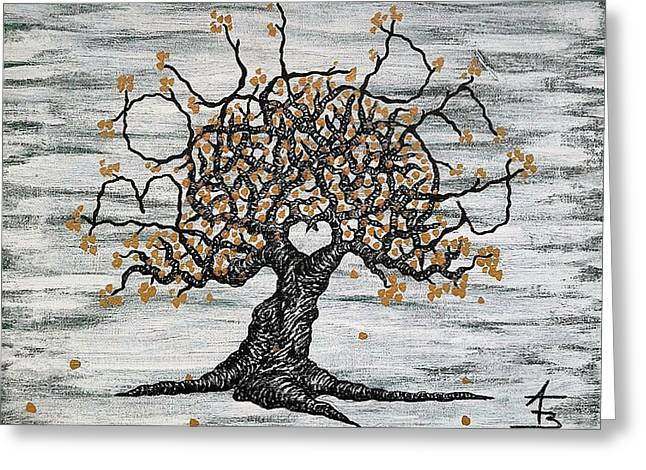 Greeting Card featuring the drawing Boulder Love Tree by Aaron Bombalicki