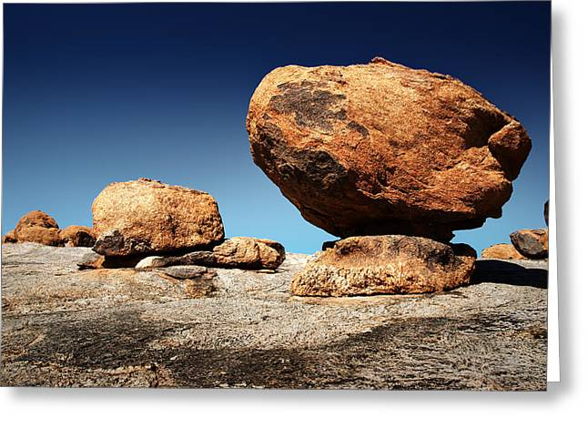 Boulder On Solid Rock Greeting Card by Johan Swanepoel