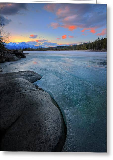 Boulders And Ice On The Athabasca River Greeting Card by Dan Jurak