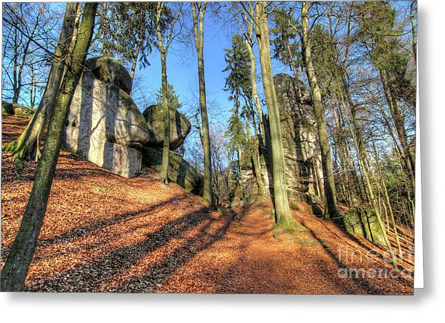Boulders At The Forest Path In Bohemian Paradise Greeting Card