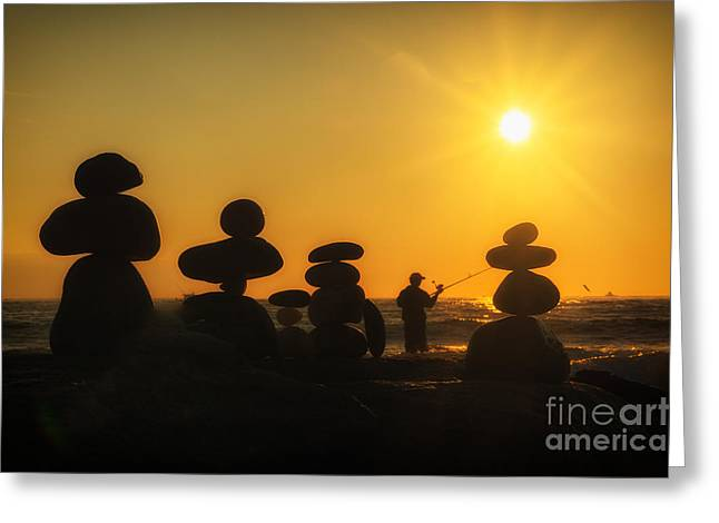 Boulders By The Sea Greeting Card