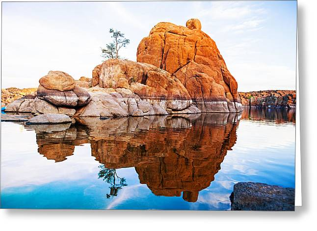 Boulders With Tree In Watson Lake - Arizona Greeting Card by Susan Schmitz