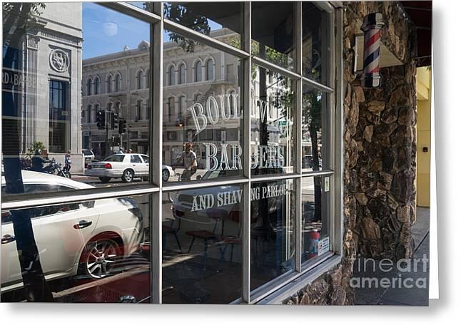 Boulevard Barbers And Shaving Parlor In Petaluma California Usa Dsc3742 Greeting Card by Wingsdomain Art and Photography