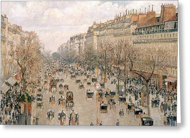 Boulevard Montmartre Afternoon Sun Greeting Card by Camille Pissarro