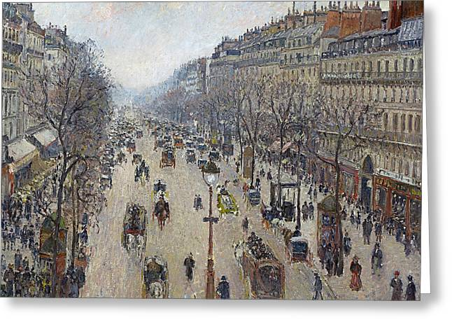 Boulevard Montmartre Morning Cloudy Weather  Greeting Card by Camille Pissarro