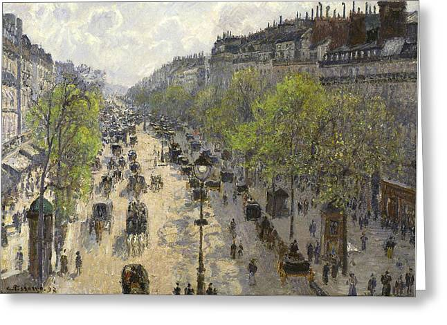 Boulevard Montmartre Spring Greeting Card by Camille Pissarro